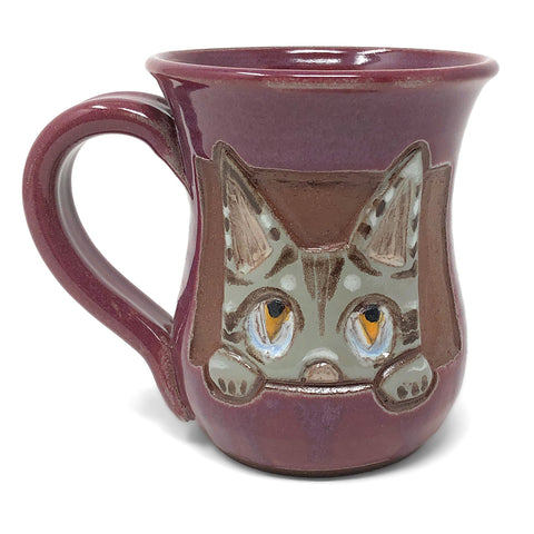 MudWorks Pottery Carved Cat Face Mug