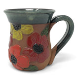 MudWorks Pottery Carved Poppies Mug