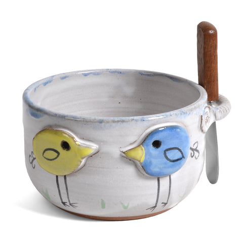 MudWorks Pottery Peeps Dip Bowl with Spreader