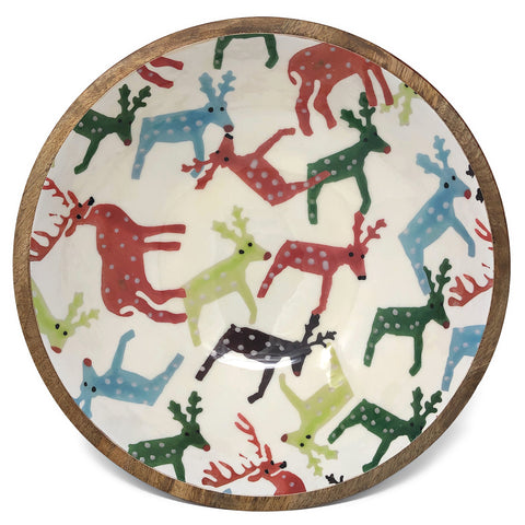 Mud Pie Reindeer 13-inch Enameled Wood Salad Bowl