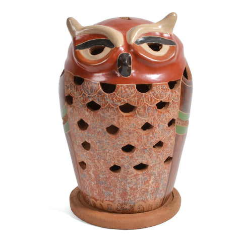 Mundo Village Nicaraguan Pottery 7-inch Owl Candle Shade