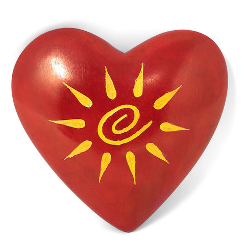 African Handmade Red Sunshine Heart 3.5-inch Soapstone Paperweight