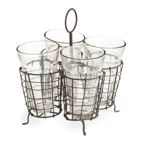 Napa Home & Garden Wire Caddy with 4 Juice Glasses - The Barrington Garage