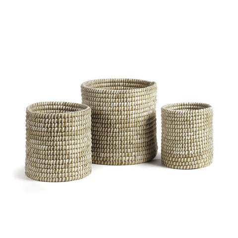 Napa Home & Garden Rivergrass Small Round Baskets, White, Set of 3