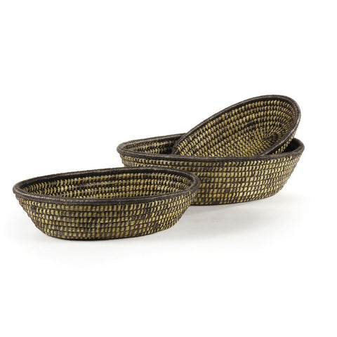 Napa Home & Garden Rivergrass Low Oval Baskets, Black, Set of 3