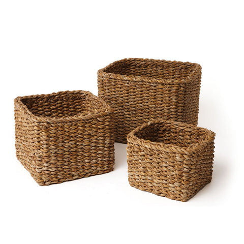 Napa Home & Garden Seagrass Small Square Baskets, Set of 3