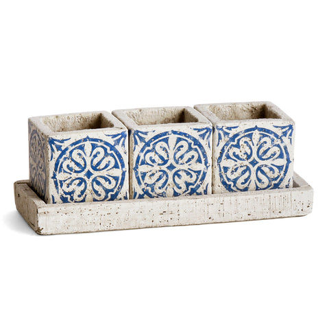 Napa Home & Garden Fez Small Square Cachepots with Tray - The Barrington Garage