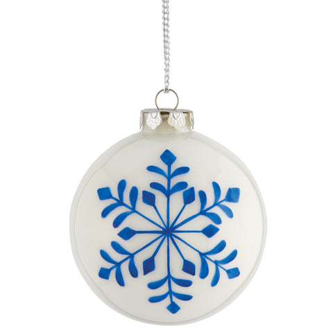 "Napa Home & Garden Painted Snowflake 4.5"" Glass Ball Ornament, Blue/White - The Barrington Garage"