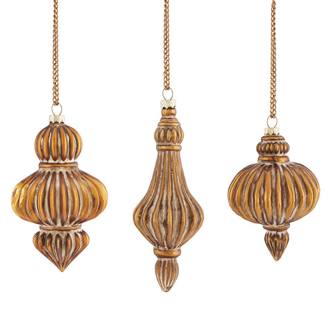 Napa Home & Garden Parisienne Ribbed Glass Ornaments, Antique Gold, Set of 3 - The Barrington Garage