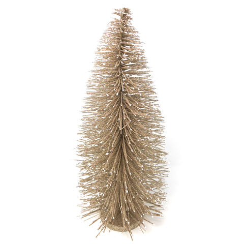 Napa Home & Garden Glittered 19-inch Bottle Brush Tree, Champagne/White