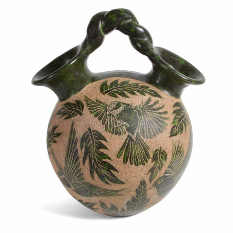 Nicaraguan Pottery 8-inch Pledge Pot with Bird Motif