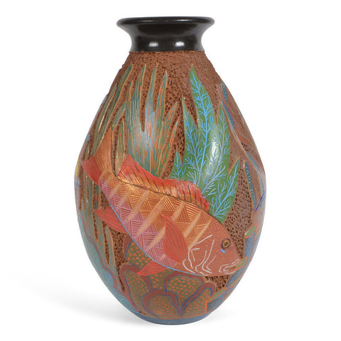 Nicaraguan Pottery Sea Life 8-inch Carved Dimpled Vase