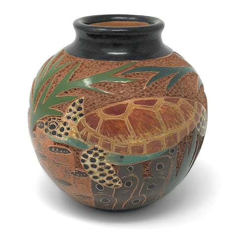 Nicaraguan Pottery 4-inch Mini Carved Vase, Sea Turtle