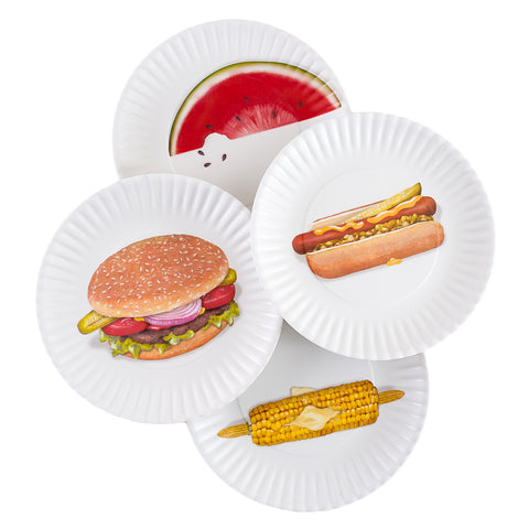 BBQ Picnic 9-inch Melamine Plates, Set of 4 - The Barrington Garage