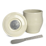 Oregon Stoneware Studio Cow French Butter Keeper with Pewter Spreader - The Barrington Garage