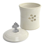 Oregon Stoneware Studio Fleur de Lys Garlic Pot with Pewter Finial - The Barrington Garage