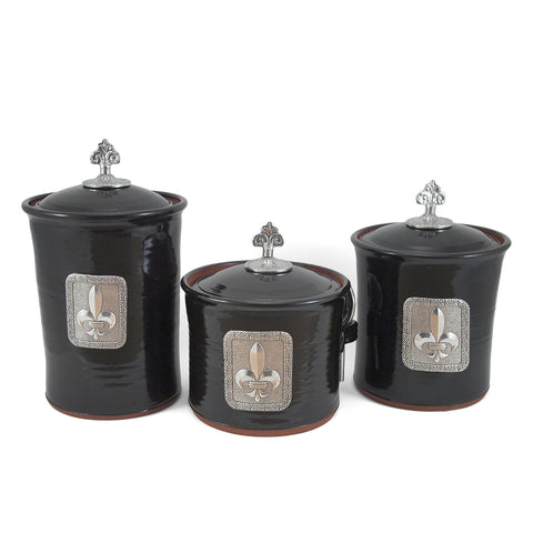 Oregon Stoneware Studio Fleur de Lys Canister Set with Pewter Finials - The Barrington Garage