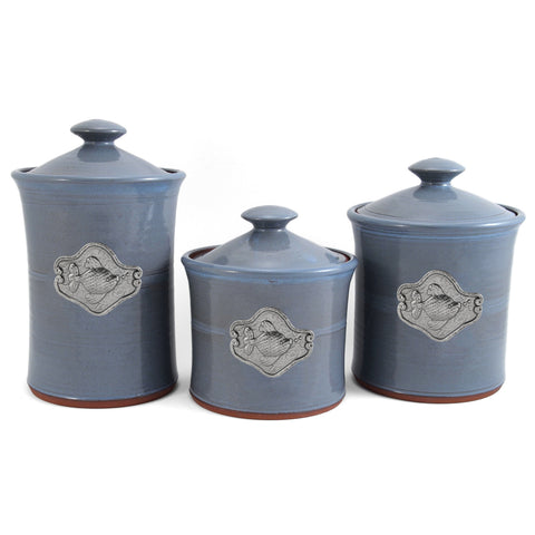 Oregon Stoneware Studio Fish 3-piece Canister Set - The Barrington Garage