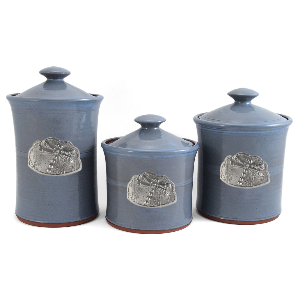 Portland Canisters Set Of 3: Oregon Stoneware Studio Dragonfly 3-piece Canister Set