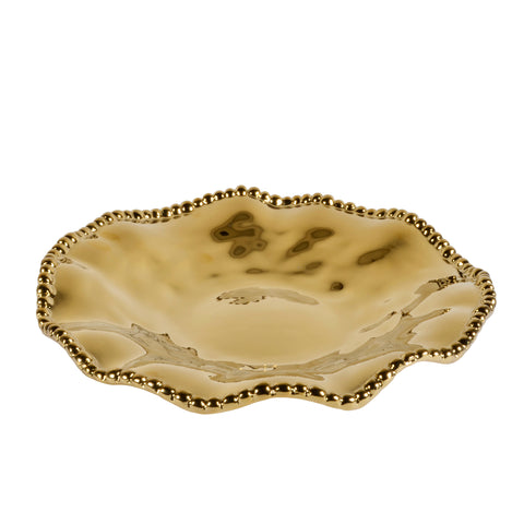 Pampa Bay Monaco Titanium-Plated Porcelain 10.5-inch Round Serving Dish, Gold