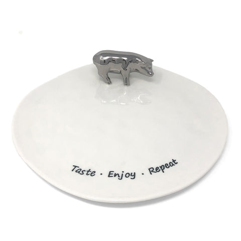 Pampa Bay Taste, Enjoy, Repeat 10-inch Porcelain Platter with Silver Pig
