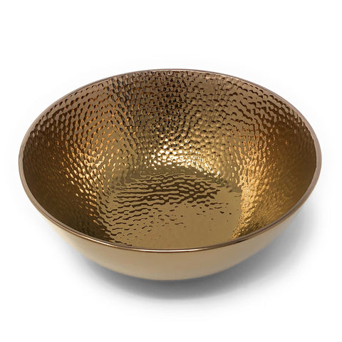 Pampa Bay Hammered Titanium-Plated Porcelain 6.5-inch Round Bowl, Bronze