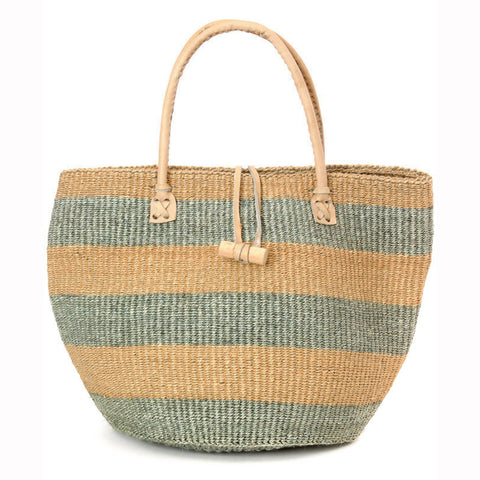 Striped Sisal Tote Handbag with Leather Handles, Silver/Blush