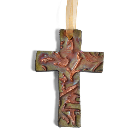 PotTerre Raku Pottery Cross Ornament