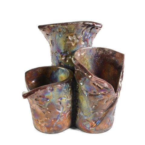 PotTerre Raku Pottery Trio Centerpiece Candleholder - The Barrington Garage