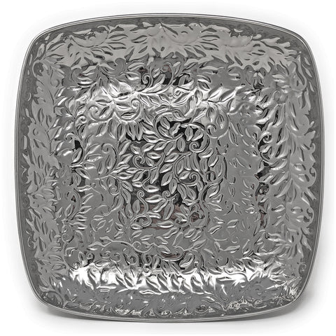 Pampa Bay Titanium-Plated Porcelain 12-inch Vine Pattern Square Tray, Silver