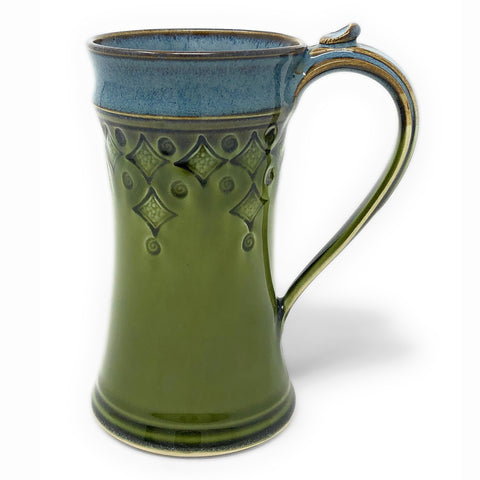 Plays in Mud Pottery Diamond Pattern 12-Ounce Tall Mug, Green