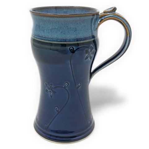 Plays in Mud Pottery Floral Pattern 12-Ounce Tall Mug, Blue