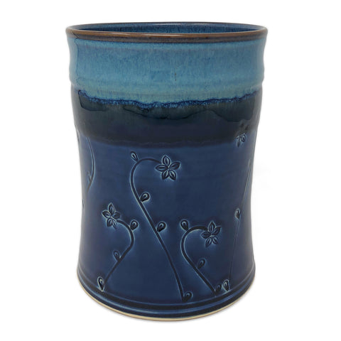 Plays in Mud Pottery Wine Chiller Utensil Crock, Blue Floral