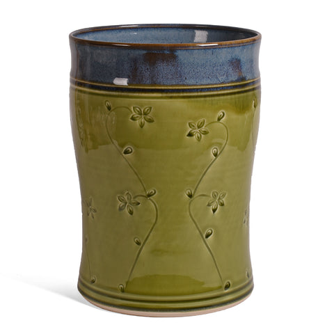 Plays in Mud Wine Chiller Utensil Crock, Handmade American Pottery, Green Floral