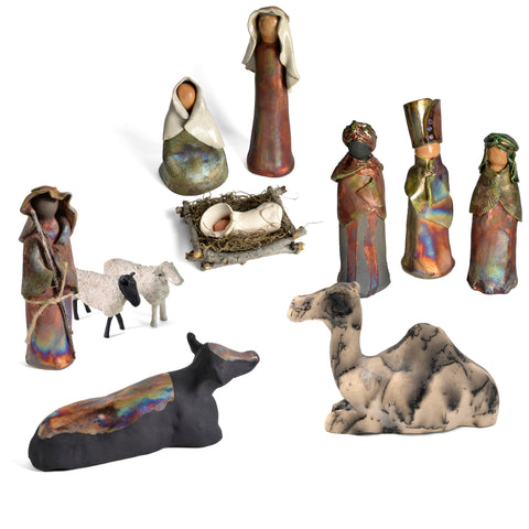 PotTerre Raku Pottery Handmade 11-piece Nativity Set