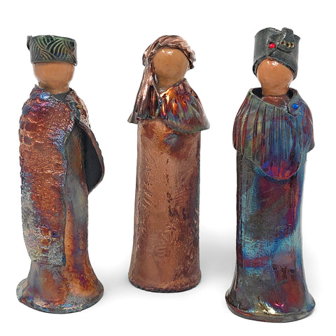 PotTerre Raku Pottery 3-piece Magi Nativity Set