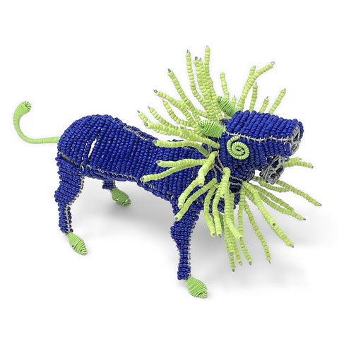 African Fair Trade 7.5-inch Beaded Lion Figurine, Blue