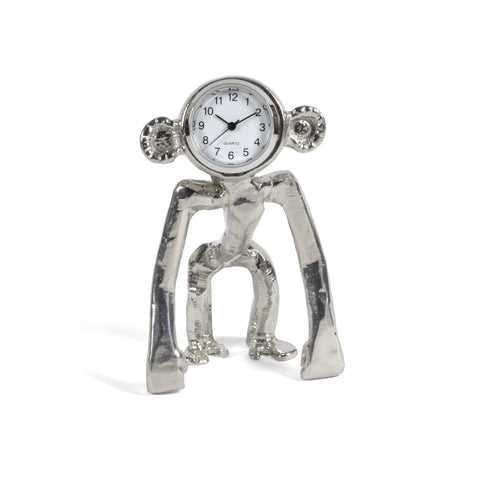 Roosfoos Pewter Simian the Ape Desk Clock