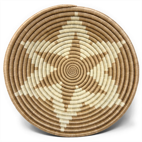 Songa Star Handwoven Rwandan Sisal Basket, Light Brown/Ivory