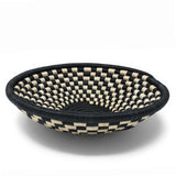 Handwoven Rwandan Checkered Sisal Basket, Black/Ivory