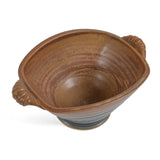 Royce Yoder Pottery Small Rectangular Bowl with Handles, Tan/Ash