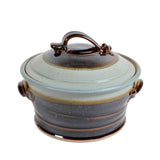 Royce Yoder Pottery 1.5-Quart Covered Casserole Dish, Tan/Ash