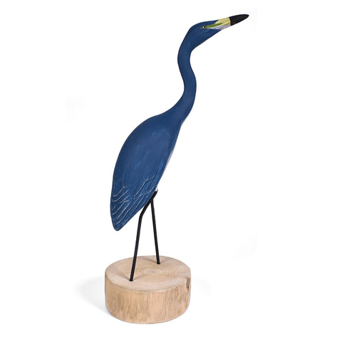 The Painted Bird by Richard Morgan Carved Blue Heron Figurine, Hunting Erect
