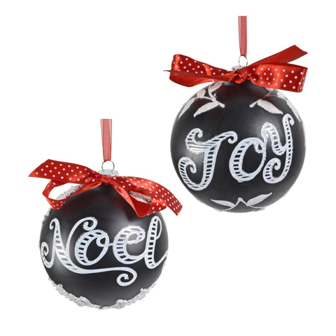 "Sage & Co. 5"" Joy and Noel Chalkboard Glass Ornaments, Set of 2 - The Barrington Garage"