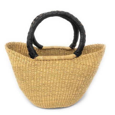 Bolga Handwoven Petite Wing Shopper Tote with Black Leather Handles