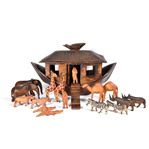 African Fair Trade Noah's Ark Set, Hand Carved Jacaranda Wood