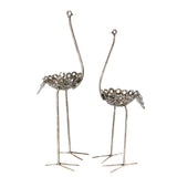 African Recycled Metal Ostrich Plant Holder Statue