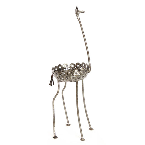 African Recycled Metal Giraffe Plant Holder Statue