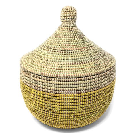 African Fair Trade Handwoven Lidded Warming Basket, Lemon Dipped Yellow