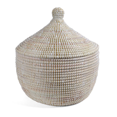 African Fair Trade Handwoven Lidded Warming Basket, White